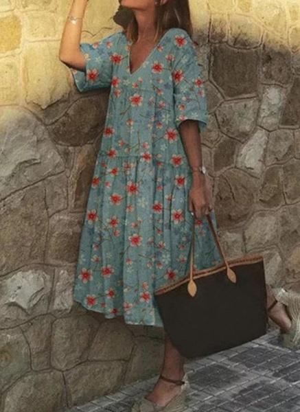Casual Floral Tunic V-Neckline A-line Dress_1