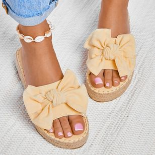 Women's Bowknot Flats Nubuck Flat Heel Sandals_2