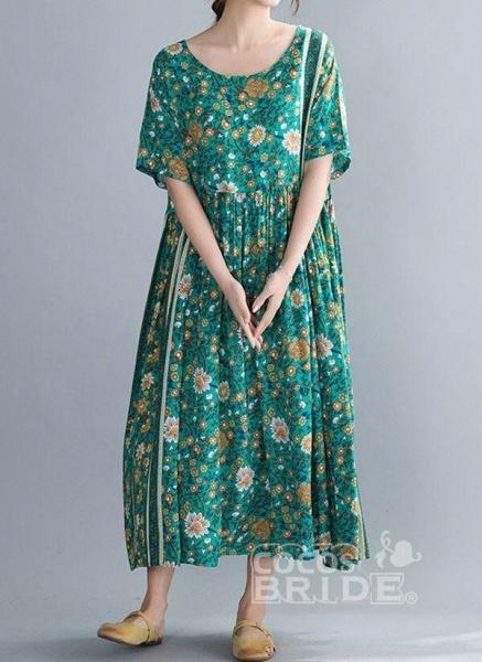 Plus Size Tunic Floral Round Neckline Casual Midi Plus Dress_5