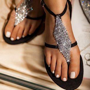 Women's Crystal Flip-Flops Flat Heel Sandals_9