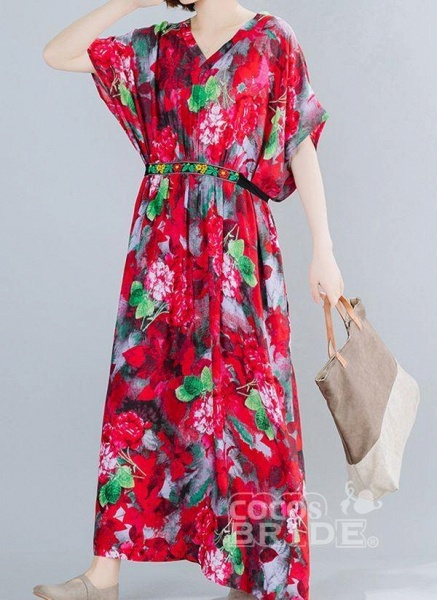 Red Plus Size Floral V-Neckline Boho Sashes Maxi Plus Dress_2