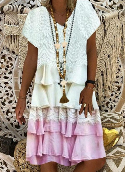 Coffee Plus Size Tunic Color Block V-Neckline Casual Appliques Ruffles Plus Dress_3