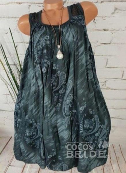 Light Blue Plus Size Tunic Floral Square Neckline Casual Above Knee Plus Dress_3