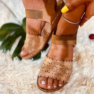 Women's Hollow-out Slingbacks Cloth Wedge Heel Sandals_2