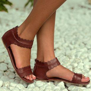 Women's Zipper Leatherette Low Heel Sandals_2