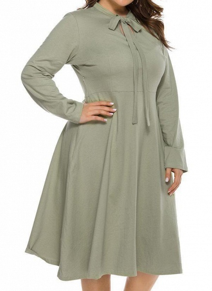 Light Green Plus Size Skater Solid Round Neckline Casual Hollow Out Plus Dress_1