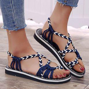 Women's Knit Toe Ring Nubuck Flat Heel Sandals_3