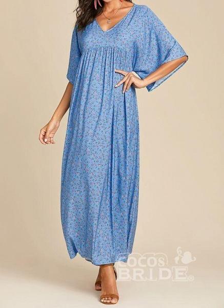 Blue Plus Size Color Block V-Neckline Casual Maxi Shift Dress Plus Dress_5