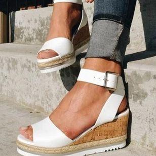 Women's Buckle Slingbacks Wedge Heel Sandals Platforms_3
