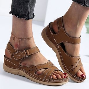 Women's Velcro Round Toe Nubuck Flat Heel Sandals_2