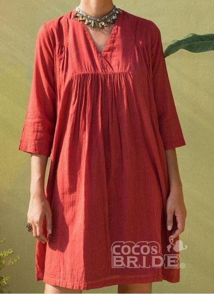 Orange Plus Size Tunic Solid V-Neckline Casual Above Knee Plus Dress_7