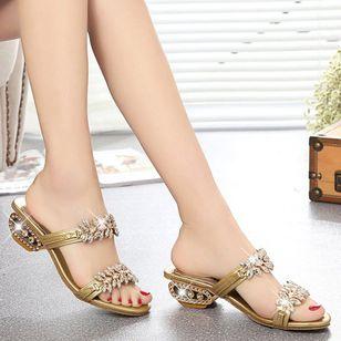 Women's Sequin Flower Slingbacks Low Heel Sandals_1