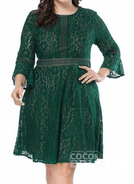 Green Plus Size Skater Solid Round Neckline Casual Lace Plus Dress_6