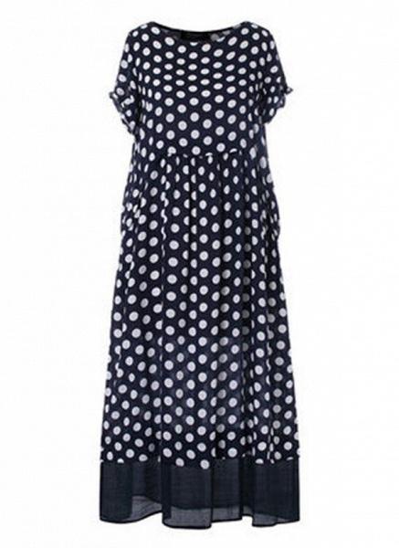 Black Plus Size Polka Dot Round Neckline Casual Ruffles Maxi Plus Dress_1