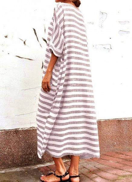 Gray Plus Size Tunic Stripe Round Neckline Casual Pockets Plus Dress_4