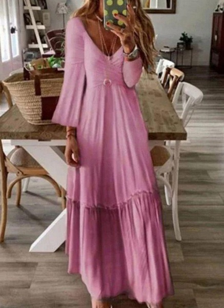 Pink Casual Color Block V-Neckline Maxi X-line Dress