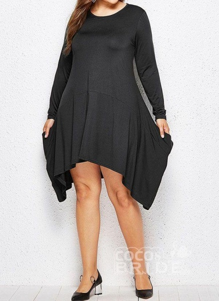Military Green Plus Size Skater Solid Round Neckline Casual Above Knee Plus Dress_6