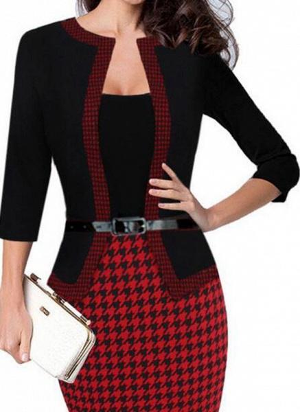 Elegant Color Block Wrap Pencil Bodycon Dress_1