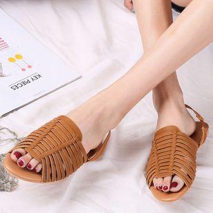 Women's Braided Strap Slingbacks Flat Heel Sandals_1