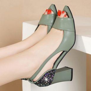 Women's Sequin Heels Spool Heel Sandals_1