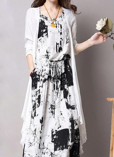 Casual Color Block Round Neckline Maxi X-line Dress_1