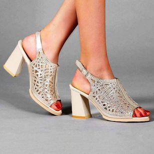 Women's Buckle Hollow-out Slingbacks Chunky Heel Sandals_3