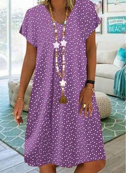 Purple Plus Size Tunic Geometric V-Neckline Casual Knee-Length Plus Dress_1