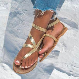 Women's Buckle Flip-Flops Flat Heel Sandals_2