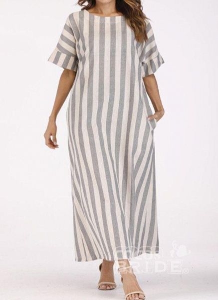 Off-white Plus Size Tunic Stripe Round Neckline Casual Pockets Plus Dress_3