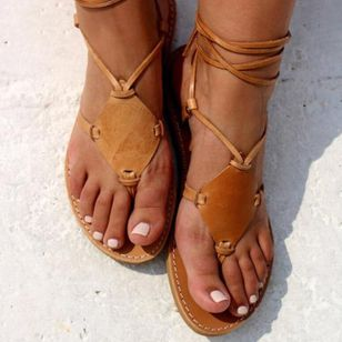 Women's Lace-up Flip-Flops Flat Heel Sandals_4