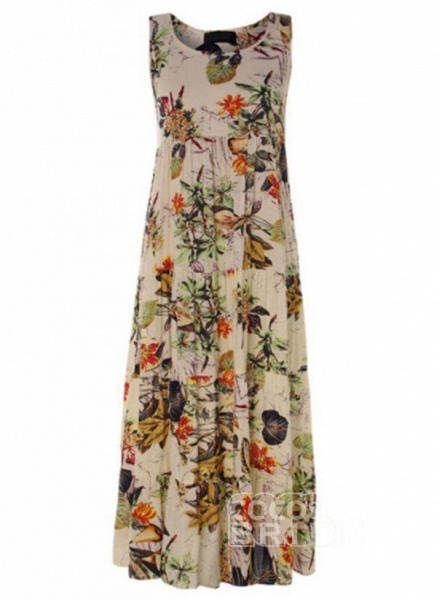 Green Plus Size Tunic Floral Round Neckline Casual Maxi Plus Dress_2