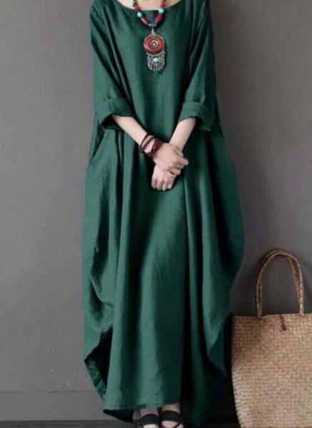 Green Plus Size Tunic Solid Round Neckline Casual Maxi Plus Dress_3