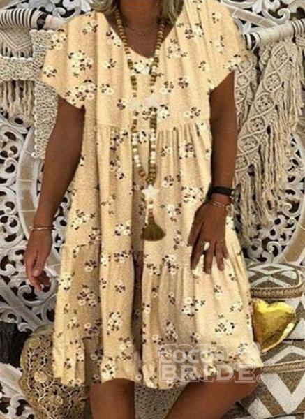 Blue Plus Size Tunic Floral V-Neckline Casual Knee-Length Plus Dress_2