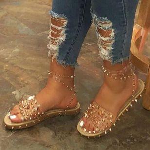 Women's Rivet Buckle Slingbacks Flat Heel Sandals_2