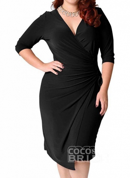Red Plus Size Solid V-Neckline Casual Sashes Midi Plus Dress_9