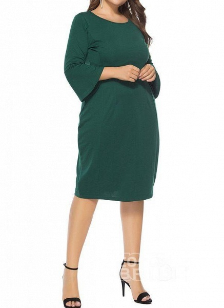 Green Plus Size Pencil Solid Round Neckline Casual Knee-Length Plus Dress_2