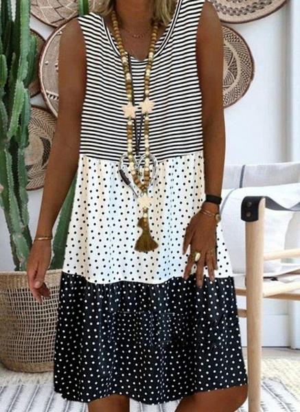 Red Plus Size Tunic Polka Dot V-Neckline Casual Knee-Length Plus Dress_3
