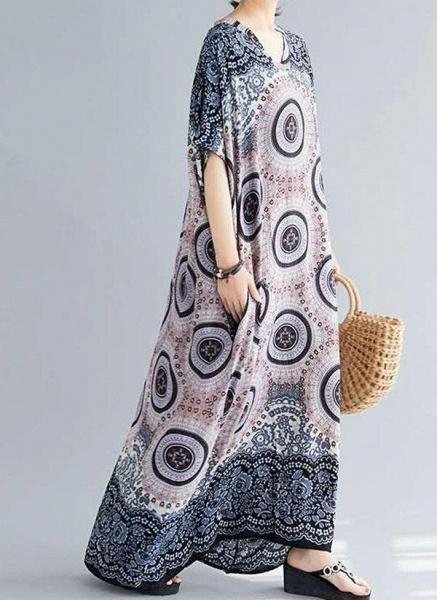 Dark Blue Plus Size Tunic Floral V-Neckline Casual Knee-Length Plus Dress_1