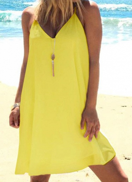 Casual Solid Tunic Camisole Neckline Shift Dress_3