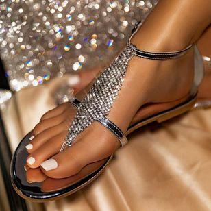 Women's Crystal Flip-Flops Flat Heel Sandals_5