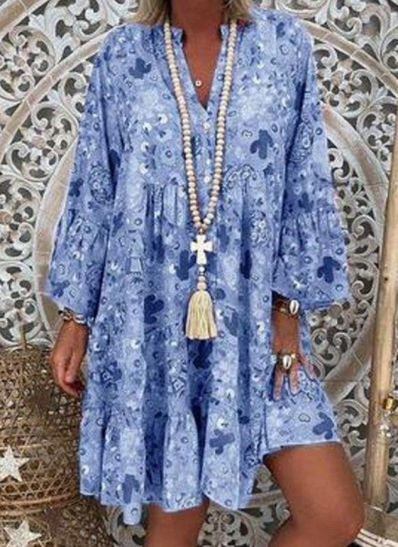 Green Plus Size Tunic Floral V-Neckline Casual Above Knee Plus Dress_5