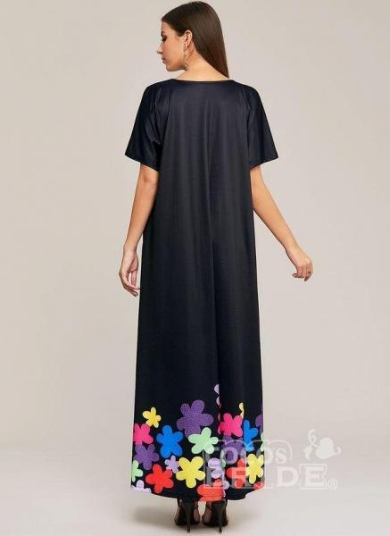 Black Plus Size Color Block V-Neckline Elegant Maxi Shift Dress Plus Dress_4