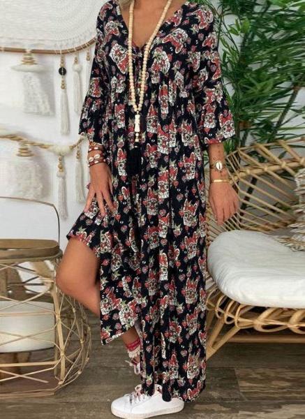 Apricot Plus Size Tunic Floral V-Neckline Casual Knee-Length Plus Dress_1