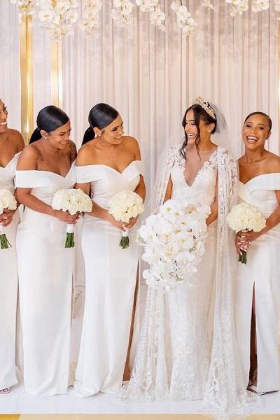 White Simple Off-the-shoulder V-neck Slit Bridesmaid Dresses_3