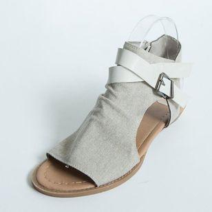 Women's Buckle Zipper High Top Flat Heel Sandals_9