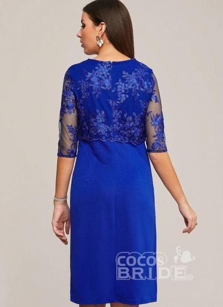 Blue Plus Size Solid Round Neckline Elegant Midi X-line Dress Plus Dress_3