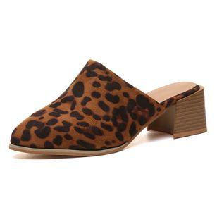 Women's Leopard Pointed Toe Heels Nubuck Chunky Heel Sandals_2