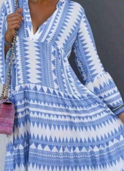 Casual Geometric Tunic V-Neckline Shift Dress_1