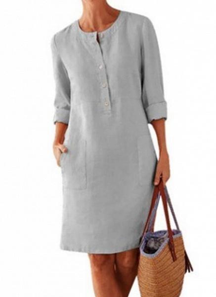 Light Gray Plus Size Solid Round Neckline Casual Pockets Above Knee Plus Dress_1