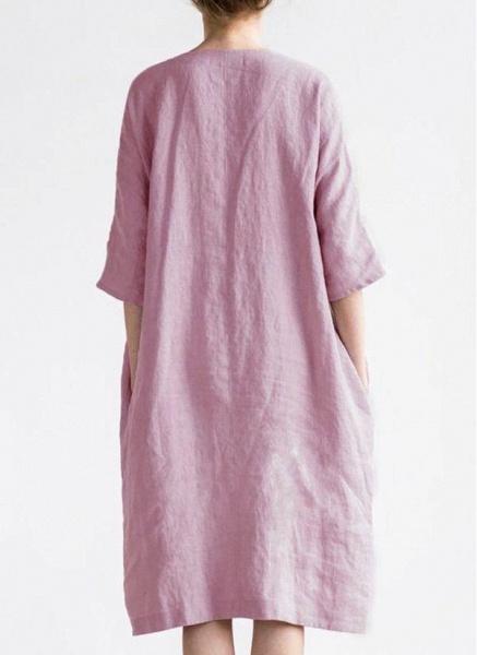 Burgundy Plus Size Solid V-Neckline Casual Midi O Dress Plus Dress_1